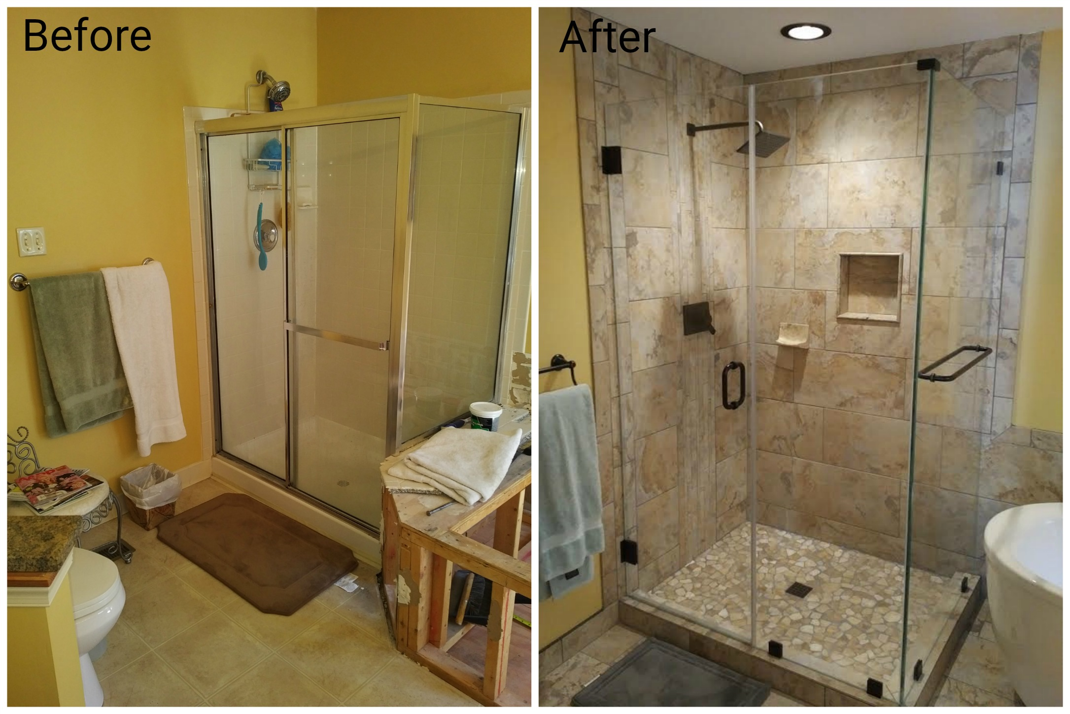 corner shower before and after